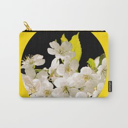 Cherry Flowers Black Background Yellow Frame #decor #society6 #buyart Carry-All Pouch