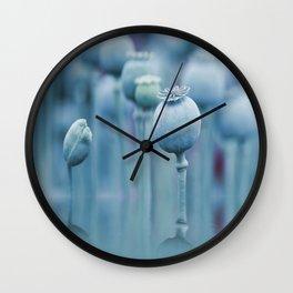 Poppy capsules blue style Wall Clock