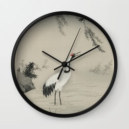 A traditional portrait of a beautiful Japanese crane by Kano Motonobu (1476-1559) Wall Clock