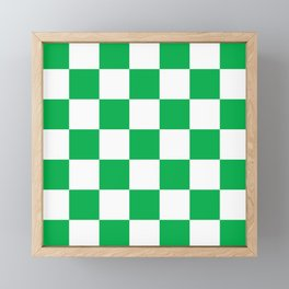 Large Green Checkerboard Pattern Framed Mini Art Print