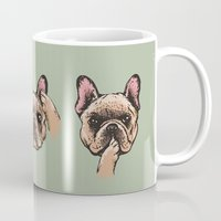evil Mugs featuring No Evil  Frenchie by Huebucket