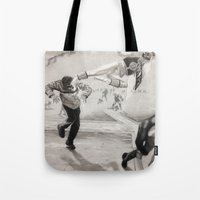 power ranger Tote Bags featuring 'White Power' Ranger by Isaac Smith