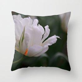 Expressive White Tulip Throw Pillow
