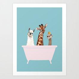 Playful Gangs in Bathtub Blue Art Print