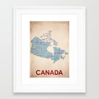 canada Framed Art Prints featuring Canada by Wordmaps