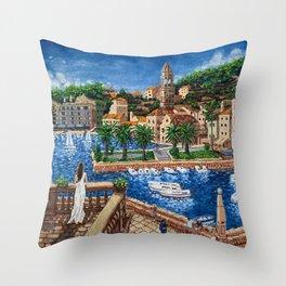 Port of Hvar, Croatia Throw Pillow