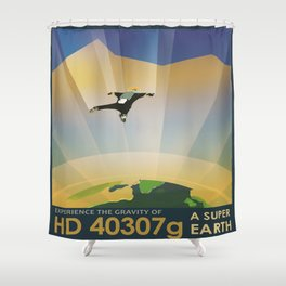 A Super Earth Retro Space Poster Shower Curtain
