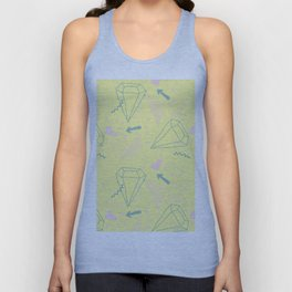 Memphis Pattern - Gemetrical  Retro Art in Yellow and Pink - Mix & Match With Simplicity Of Life Unisex Tank Top