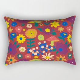 60's Country Mushroom Floral in Rust Rectangular Pillow
