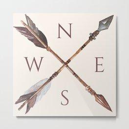 Wander Boho Rose Compass Metal Print