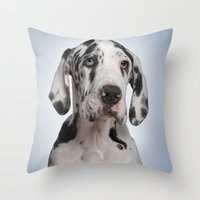 great dane Throw Pillows featuring Great dane by Life on White Creative