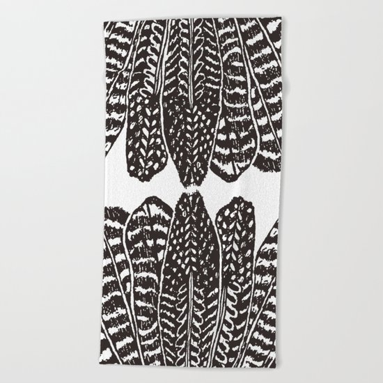 TRIBAL FEATHERS - BLACK Beach Towel