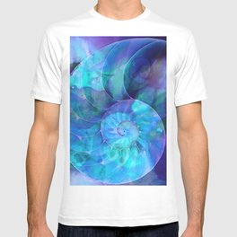 Blue Nautilus Shell  - Seashell Art By Sharon Cummings T-shirt