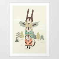 totem Art Prints featuring totem by kate hindley