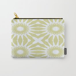 Beige & White Flowers Carry-All Pouch