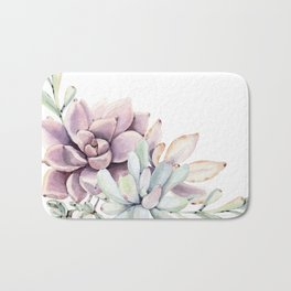 Desert Succulents on White Bath Mat