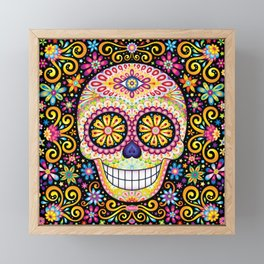 Colorful Sugar Skull - Psychedelic Day of the Dead Skull Art by Thaneeya McArdle Framed Mini Art Print