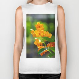 Orange orchid flower Biker Tank