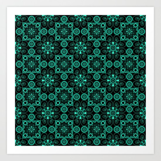 Turquoise and black pattern . Art Print