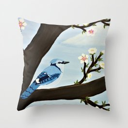 Blue Jay on Almond Blossom Tree Throw Pillow