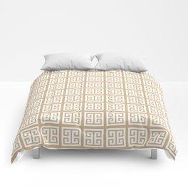Tan Brown Greek Key Pattern Comforters