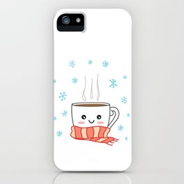 Cute smiling winter coffee with scarf and snowflakes iPhone Case
