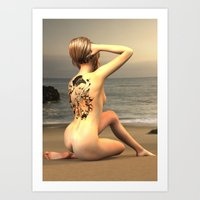 erotic Art Prints featuring erotic tattoo by flamenco72