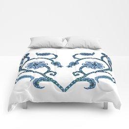 Blue Paisley Heart Comforters