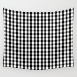 Classic Black & White Gingham Check Pattern Wall Tapestry