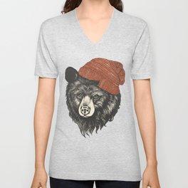 the bear Unisex V-Neck