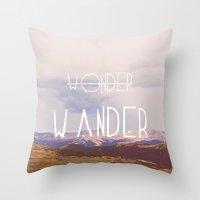 wander Throw Pillows featuring Wander by Courtney Burns