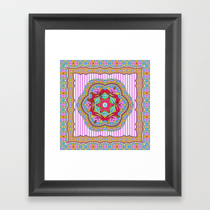 Mix&Match;  Pretty Pink Mandala Meditation pillow 03 Framed Art Print