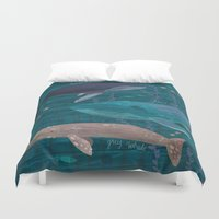whales Duvet Covers featuring Whales by Stephanie Fizer Coleman