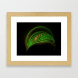 Gold Green Peacock Feather Framed Art Print