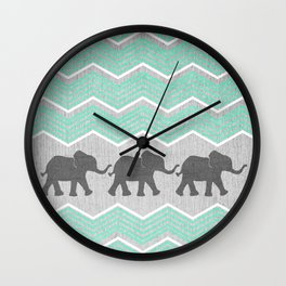 Three Elephants - Teal and White Chevron on Grey Wall Clock