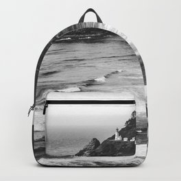 Pacific Northwest Grandeur - Heceda Lighthouse Black and White Backpack