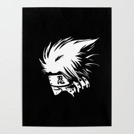 White Anime Hero Character Poster