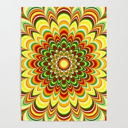 Colorful flower striped mandala Poster
