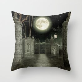 Graveyard #3 * cemetary graveyard tombstone spooky Throw Pillow