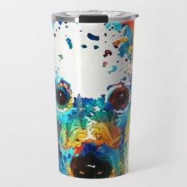 Colorful Poodle Dog Art by Sharon Cummings Travel Mug