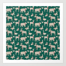 Woodland Animals in Scarves Art Print