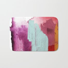 Desert Daydreams [3]: a colorful abstract mixed media piece in purple blue pinks and orange Bath Mat