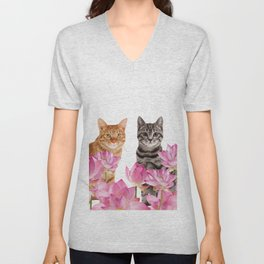 Red and Tiger cat in Lotos Flower Field Unisex V-Neck