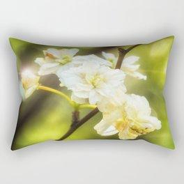 close up of a white flower Rectangular Pillow