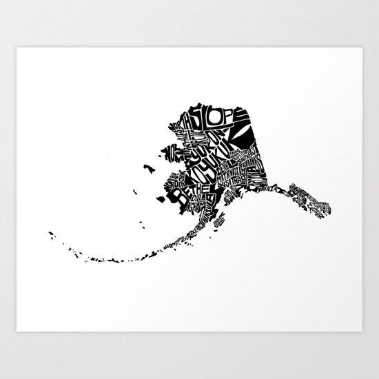 Typographic Alaska Art Print