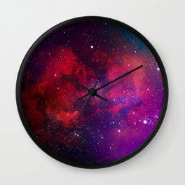 Purple & Red Watercolor Space Pattern Wall Clock