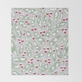 Winter Berries in Gray Throw Blanket