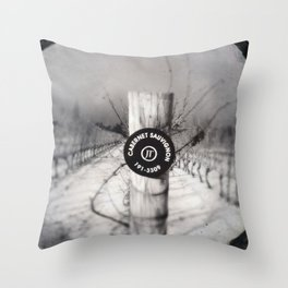 Cabernet - black and white wine photo vineyard Throw Pillow