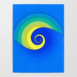 Wave in the Sunset Abstract Poster