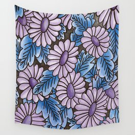 Purple flowers blue leaves pattern Wall Tapestry